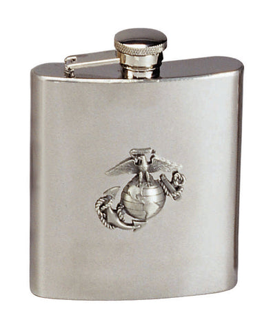 Stainless Steel Marine Corps Flask - Marines Logo Globe & Anchor Alcohol Flask
