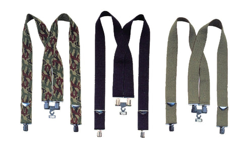 "Black Pants Suspenders, Camo Suspenders, OD Trouser Suspenders - 2"" Wide"