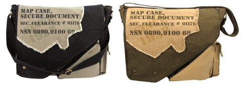 Vintage 2-Tone Map Case Shoulder Bags - Black, OD Canvas Spy Messenger Bag