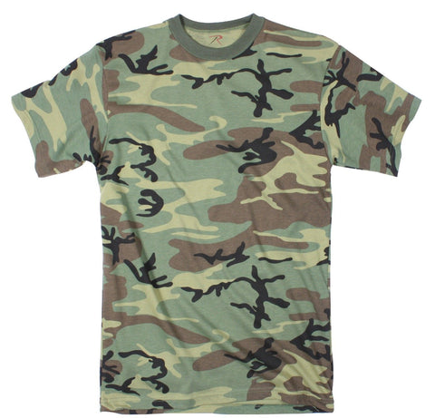 Camouflage Extra Long T-Shirt - Woodland Camo Extra Long Length Comfy Tee Tee's