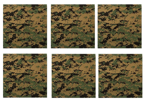 "Woodland Digital Camo Bandana 6 PACK 22"" Cotton Bandanas Biker Headwrap Scarf"