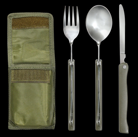 3 Piece Olive Drab Fold Away Chow Kit - Stainless Steel Knife, Fork, And Spoon