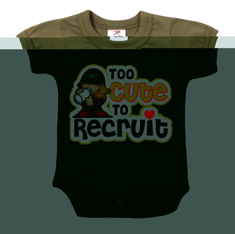'Too Cute To Recruit' Olive Drab Infant One-Piece Baby Sleeper: 3 Mth- 3T