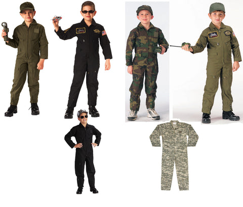 Kids Air Force Flight Suit Optional Insignia - OD, Black, ACU Digital, Wood Camo