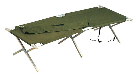 G.I. Type Aluminum Folding Sleeping Cot w/ Case - Olive Drab - 200 lb Capacity
