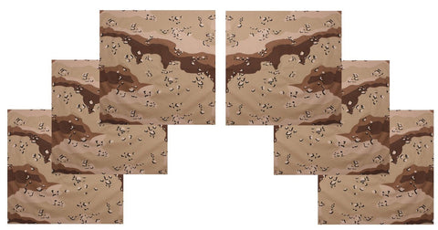 "Desert Camo Bandana 6 PACK Camouflage 22"" Cool Cotton Hot Casual Headwraps NEW"