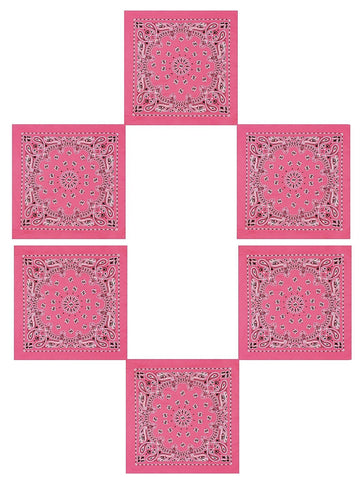 "6 PACK Sexy Pink Bandanas 22"" Paisley Soft Cotton Cute Trainmen Beach Bandanas"