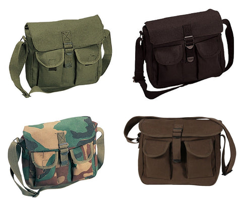 "Canvas Ammo Shoulder Pouches - Camo Ammunitions Shoulder Bag Bags 11"" x 9"" x 4"""