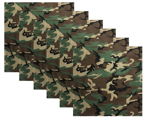 "6 PACK Woodland Camouflage Large Bandanas 27"" Big Cotton Camo Bandana Six Pack"