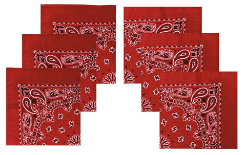 "Red Paisley Bandana 6 PACK - Red Trainmen Bandanas 22"" Cotton Headwraps ALL 6"
