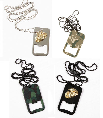Dog Tag Bottle Openers Necklaces -Military USMC,Camo Bottle Openers Necklace