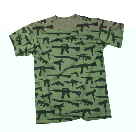 "T-Shirt - Multi Print ""Guns"" - Olive Drab"