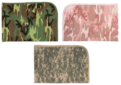 Camo Infant Receiving Blankets - Pink Camo+ACU, Woodland 100% Cotton Baby Blanky