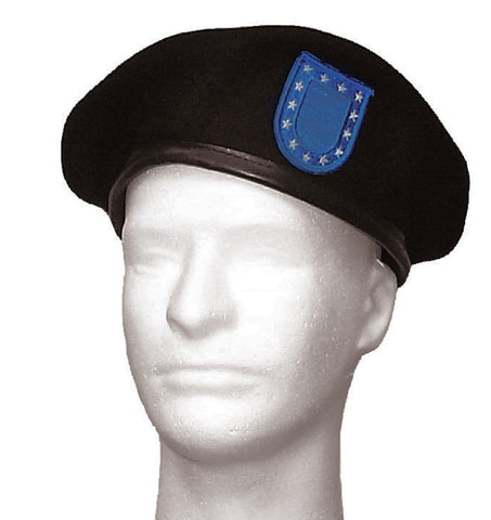 Military Type Black Wool Beret w/ Blue Flash GI Hat No Eyelets Sizes 7 - 7.75