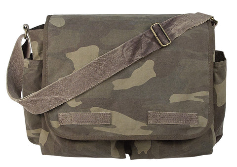 Woodland Camo Vintage Messenger Bag - Great for Work or School