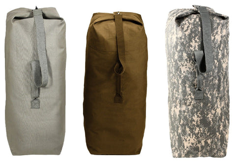 Top Load Canvas Duffle Bags - Camo Heavyweight Duffle Gear Travel Bag w/ Strap
