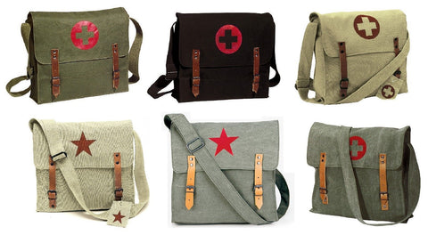 Vintage Canvas Messenger Bags - Stylish Medic Shoulder Bags w/ Leather Straps