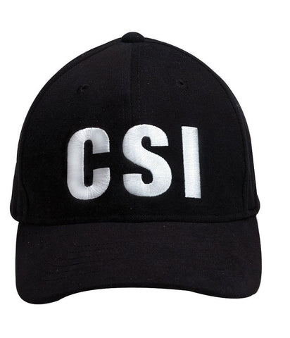 """CSI"" Cap In Black - White Embroidery Low Profile Baseball Hat"