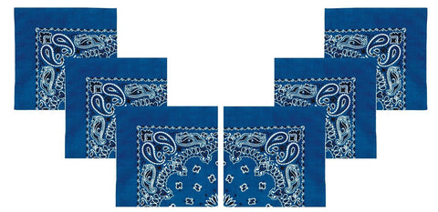 "6 PACK Royal Blue Bandanas Trainmen 22"" Paisley Cotton Hot Rocker Beach Headwrap"