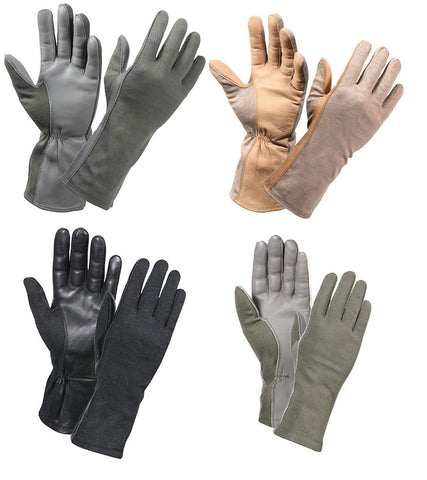 Army Marine Fire Retardant Flight Gloves - Foliage, Desert, Black, OD/ Size 7-12