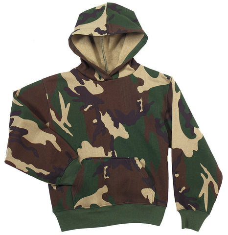 Kids Camo Hoodie - Army Marine Woodland Camouflage Pull Over Hooded Sweatshirt