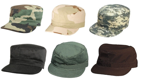 Men's Military Style Caps - Camo Rip-Stop Cotton Fatigue Cap Fitted Hat XS-2XL