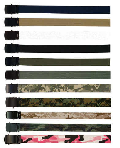Cotton Military Web Belt with Black Buckle