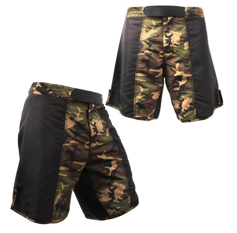 Camouflage and Black Fighting Shorts Polyester Camo Battle Sparring Shorts