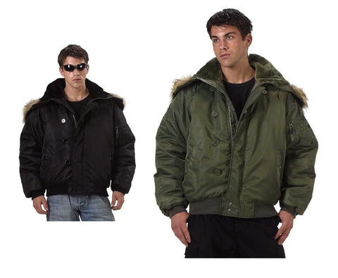 Men's Tactical Winter Coat - Black or Sage Military N-2B Flight Jacket