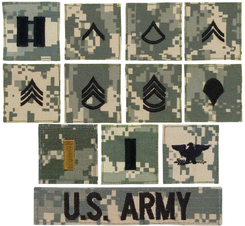 ACU Digitial Military Army Rank Insignia with Velcro Back Made in USA
