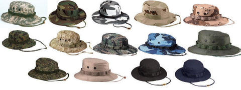 Military Boonie Hat - Camo Camouflage Cotton Wide-Brim Bucket Sun Hat