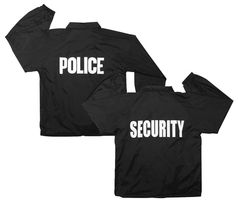 Black Law Enforcement Coaches Coat - Police Security Fleece Lined Nylon Jackets