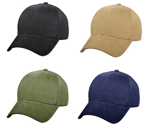 Single Color Low Profile Hats In Coyote Brown, Olive Drab, Black, And Navy Blue
