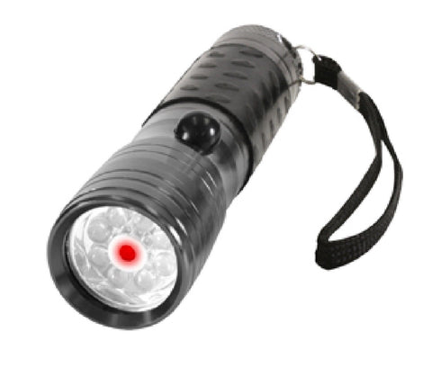 Gun Metal Grey 8-Bulb LED Flashlight w/ Red Laser Pointer