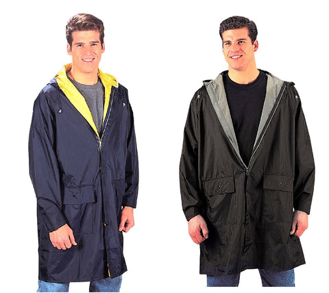 Reversible Rain Parkas - Navy/Yellow or Black/Olive Rain Coat Parkas