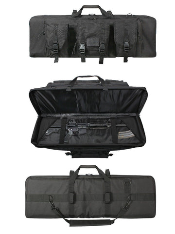 "Black Rifle Case - 36"" Tactical Gun Case - Padding, Straps, Pouches - 36""x12""x3"""