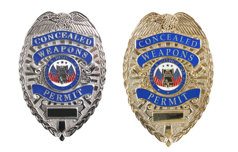 Deluxe Badge - 'Concealed Weapons Permit' -  Nickel Silver or Gold Plating