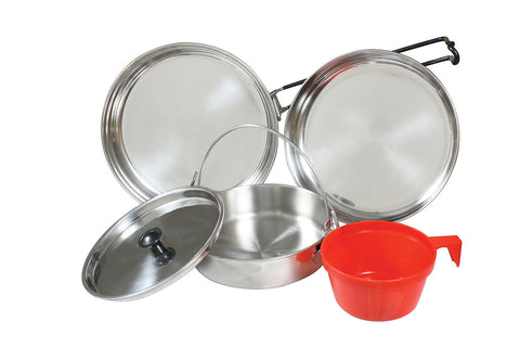 5-Piece Stainless Steel Mess Kit - Fry Pan, Sauce Pan, Lid, Plate, And Cup
