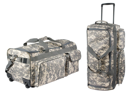 ACU Digital Camouflage Travel Expedition Bag w/ Wheels Polyester Luggage Bag