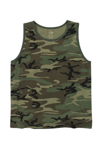 Vintage Woodland Camo Camouflage Tank Top