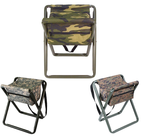 Deluxe Camo Folding Camp Stool W/Pouch - Woodland, ACU Digital, Woodland Digital