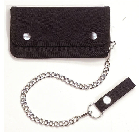 "Black Trucker Wallet w/ 14"" Chain & Snaps Closure - Secure Polyester Wallet"