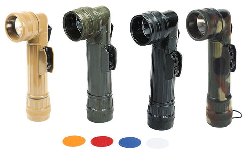 G.I. Type D-Cell Flashlights - Brown, OD, Black, Camo Flash Lights -Extra Lenses