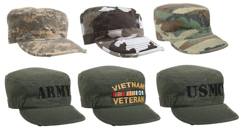 Men's Vintage Military Fatigue Caps - USMC, Army, Camouflage Camo Fatigued Hats