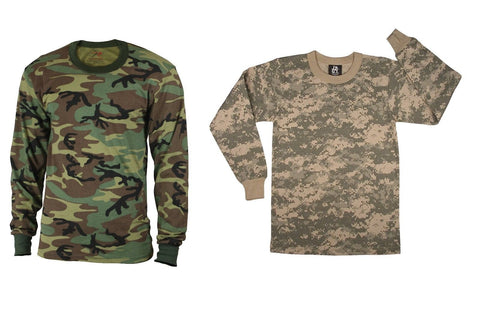 Kids Camo Long Sleeve T-Shirt Boy & Girl Woodland ACU Camouflage Top Undershirt