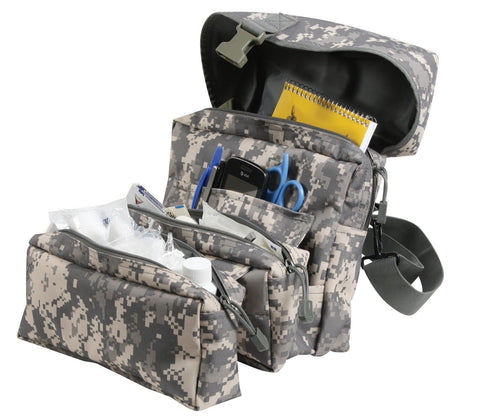 ACU Digital MOLLE Medical Kit Bag Pouch - Camouflage 3 Zippered Sections & Strap
