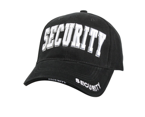 "Black ""Security"" Hat - Deluxe Low Profile Baseball Cap"