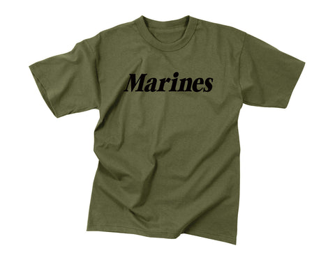 "Kids ""Marines"" T-Shirt - Olive Drab With Black Print"