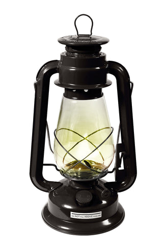 "12"" Kerosene Lantern With Glass Globe - Black - Adjustable Wick - Camping Hiking"
