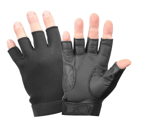 Black Fingerless Neoprene Gloves - Black Biker/Cycling Stretch Gloves - S-2XL